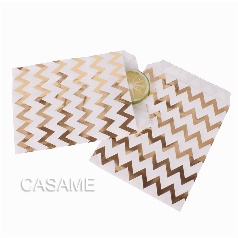 25PCS Kraft Paper Bags Gold Stripe Wedding Gift Birthday Party Supplies Wedding Decoration Gifts Goodie Wrapping Bag Favor