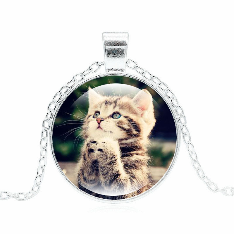 Harajuku Style Jewelry with Silver/Bronze Plated Glass Cabochon Cute Cat Shaped Choker Long Pendant Necklace for Women
