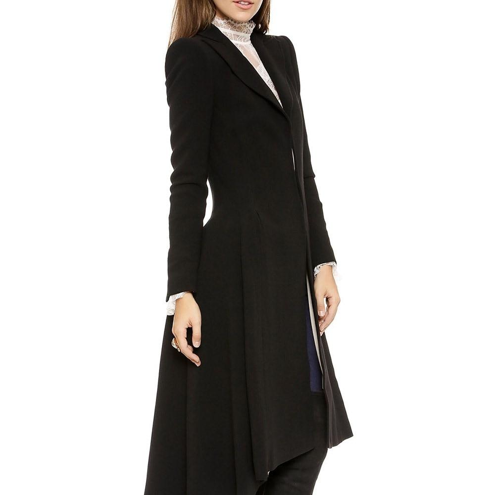 marine Manteau Manteaux Chaud Noir Élégant Femmes Hiver Plus Laine Taille Dames Simple Skinny Casual Ourlet Bleu La Bureau Usure Queue Longue Revers D'aronde A51qfw