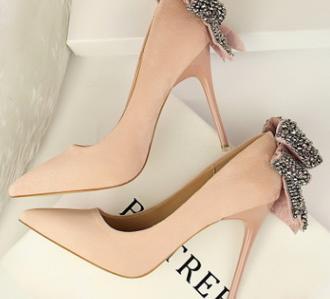 00c2a273 Mujer Imitación Coreana rosado caqui Boca Alto Aguja Punta rojo 2018 Tacón  Moda Negro Nueva De Someras Zapatos Diamantes BgOZRXqw