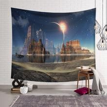Красивая звездная ночь Sky Galaxy Tapestry Wall Hanging Planet Psychedelic Декоративный гобелен Wall Decor для дома
