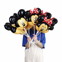 1pc Mini Mickey Minnie Mouse head foil balloon Kids Birthday Party Decoration Baby Shower Supplies Inflatable balloons 35*30cm(China)