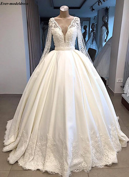 Ball Gowns Long Sleeves Wedding Dresses Plus Size Lace Appliques Pearls V-Neck Button Gorgeous Bridal Robe De Mariee - discount item  20% OFF Wedding Dresses