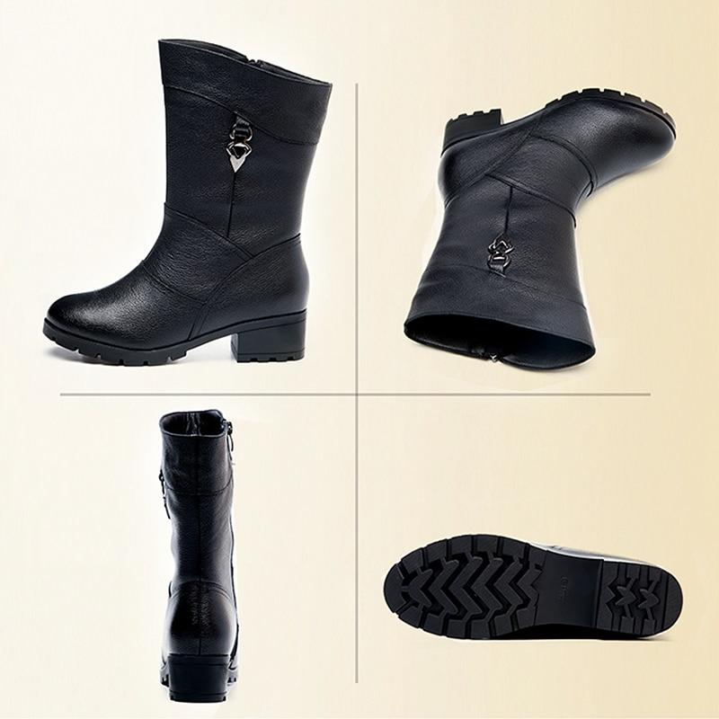 Dongnanfeng 여성 여성 숙녀 어머니 정품 가죽 신발 부츠 중반 송아지 지퍼 겨울 모피 플러시 따뜻한 블링 플러스 크기 43 BH 662-에서미드 카프 부츠부터 신발 의  그룹 3