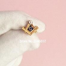 10pcs Square and Compass G with Rhinestone Enamel Pin Brooches Masonry Metal Badge 11mm Small Masonic Free Masons Lapel Pins
