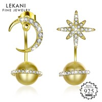 LEKANI Crystals from Swarovski S925 Sterling Silver Star Moon Pearl Pendant Stud Earrings For Women Unique Design Jewelry