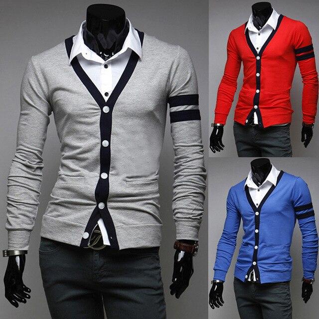 2014 новая коллекция весна марка классическая краткая опрятный стиль v-образным вырезом slim-подходят мужские свитера свободного покроя кардиган с длинными рукавами мужской одежды M-XXL