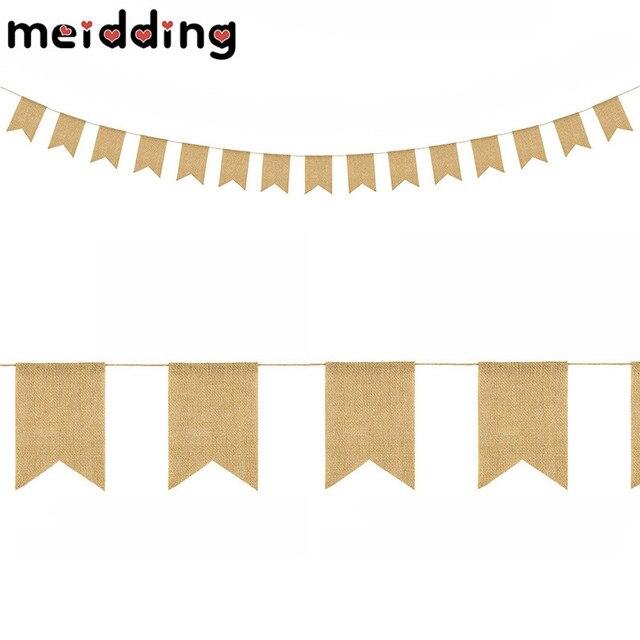 MEIDDING 15Pcs Set Burlap Jute Bunting Banner Linen Swallowtail Flag For Wedding Home Baby Shower