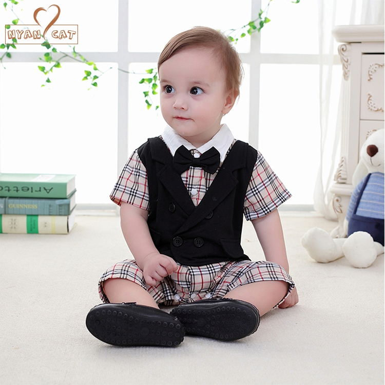 Baby boy cotton outfit gentlemen bow tie plaid double breasted romper summer short sleeve jumpsuit infant wedding party clothes newborn infant baby girl clothes strap lace floral romper jumpsuit outfit summer cotton backless one pieces outfit baby onesie