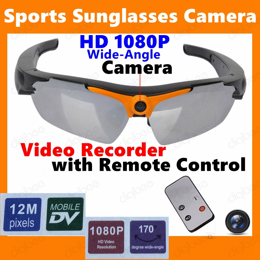 Wide Angle Remote Control Sports HD 1080P Sunglasses Camera Mini DV DVR Glasses Video Recorder Polarized Sunglasses with Camera