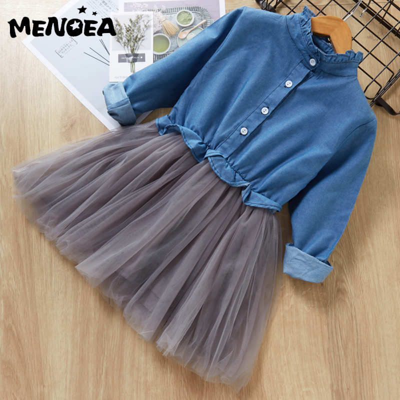Menoea Girl Mesh Dress 2019 Cute Dresses Children Clothing Princess Dress Cowboy Button Design 3-7 Years Girl Clothes DressMenoea Girl Mesh Dress 2019 Cute Dresses Children Clothing Princess Dress Cowboy Button Design 3-7 Years Girl Clothes Dress
