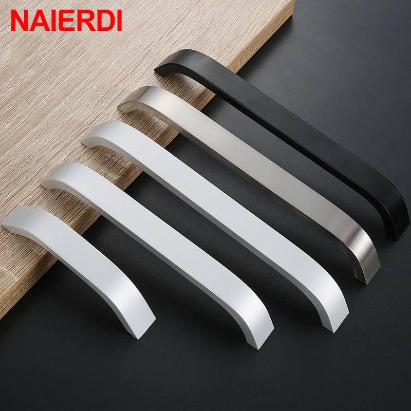 NAIERDI Kitchen Cabinet Knobs Handles Black Furniture Handle For Cabinet Drawer Pulls Aluminum Alloy Handle 96/128/160/192mm