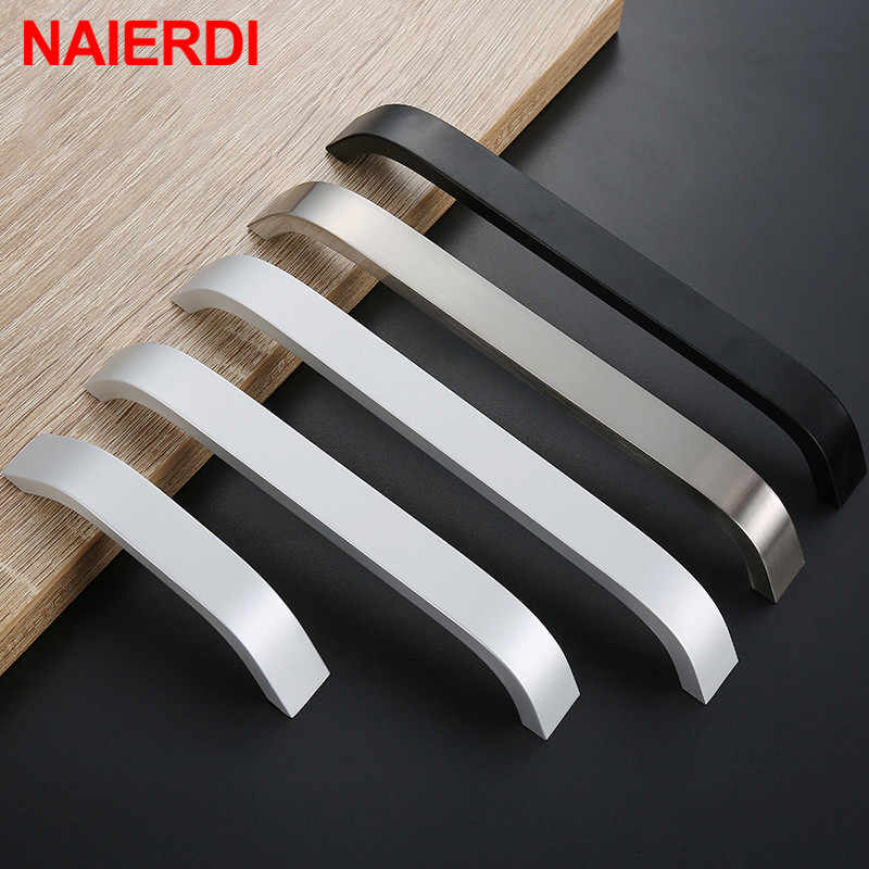NAIERDI Kitchen Cabinet Knobs Handles Black Furniture Handle for Cabinet Drawer Pulls Aluminum Alloy Handle 96/128/160/192mm