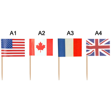 100 Pcs 65mm Paper Country Hand Flags Picks Flag Food Toothpicks Party Decor  Football Club Soccer Fans Small Banner M21