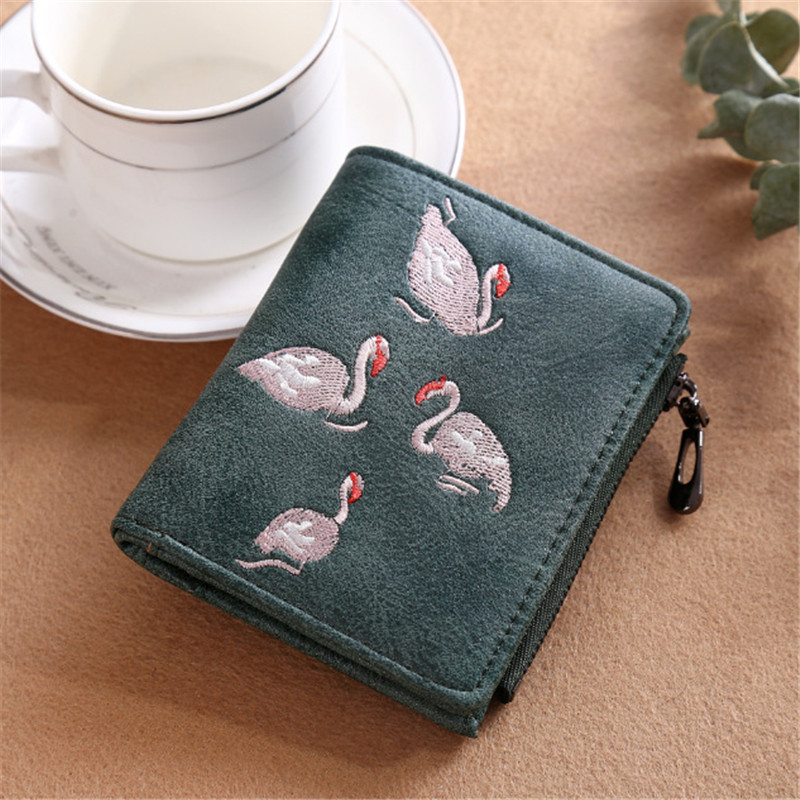 NIBESSER Animal Print Women Minimalist Wallet Swan Embroidered Credit Wallet Fashion Short Money Clips Girls Purse For Coins