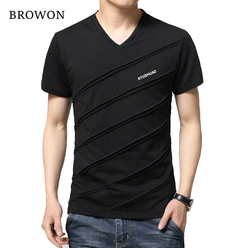 2017 New Summer T Shirt Men Patch Design Solid Color Short Sleeve Shirt Mens V Neck T-shirt Casual T-shirt Slim Tee Shirt Hommes