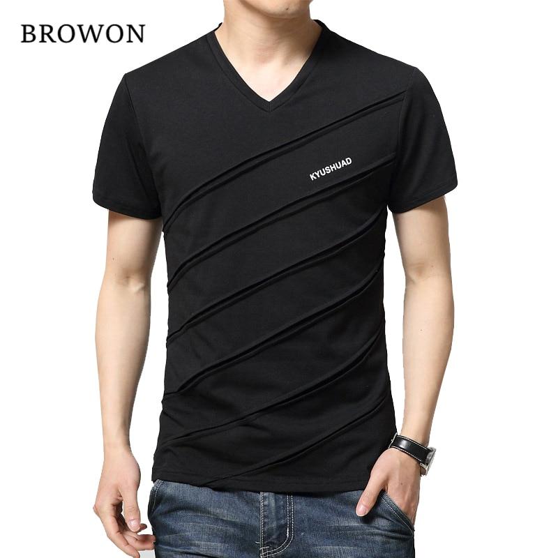 2017 Neue Sommer T Shirt Männer Patch Design Einfarbig Kurzarm Shirt Mens V Neck T-shirt Casual T-shirt Slim T Hemd Hommes
