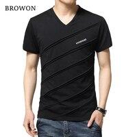 2016 New Summer T Shirt Men Patch Design Solid Color Short Sleeve Shirt Mens V Neck