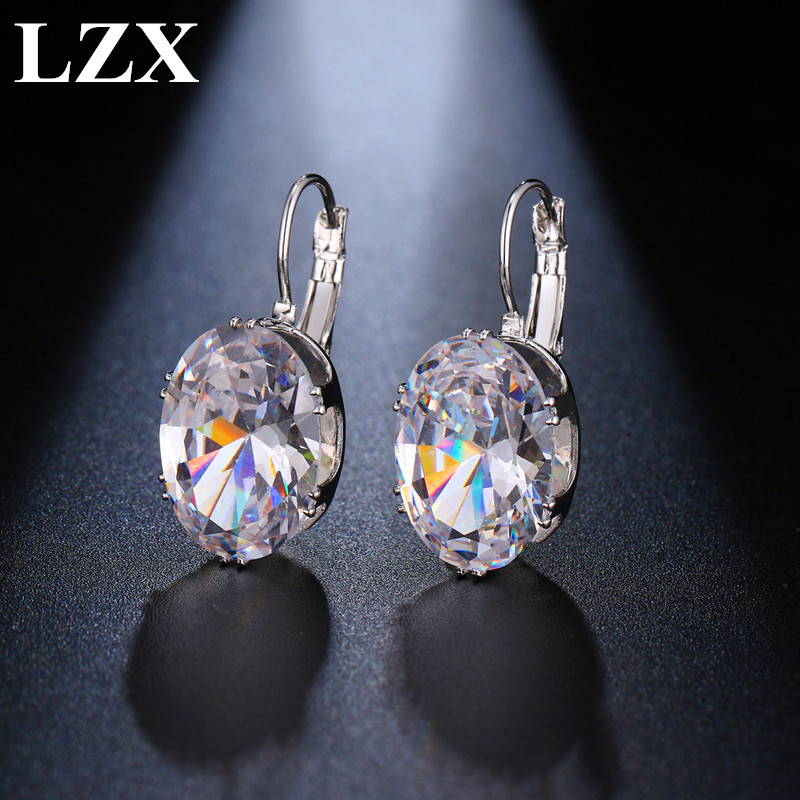 LZX Hot Sell Oval Shape Crystal Earring 5 Colors Cubic Zirconia Stone Hoop Earrings For Women And Girls Fashion Party Jewelry