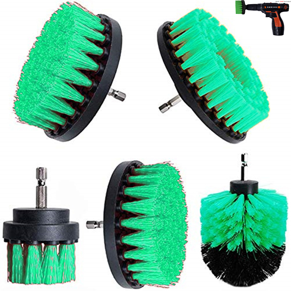 2 3.5 4 5 Inch Solid  Hollow Drill Power Scrub Clean Brush For Leather Plastic Wooden Furniture  Cleaning Power Scrub,  Green