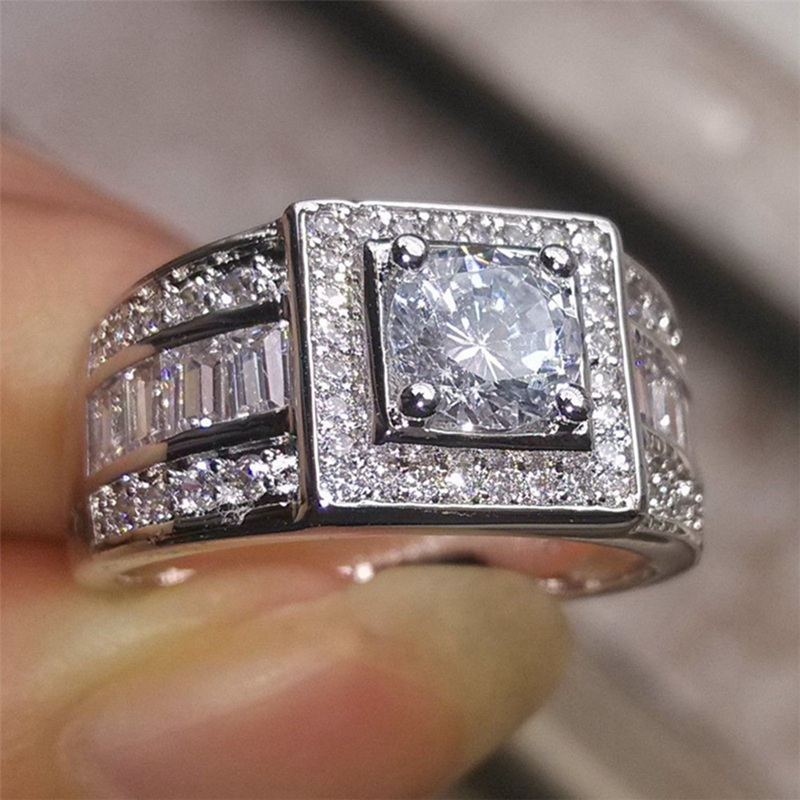 High Quality Silver Color CZ Stone Crystal Wedding Ring  Austrian Crystals Rings Women Men Wholesale