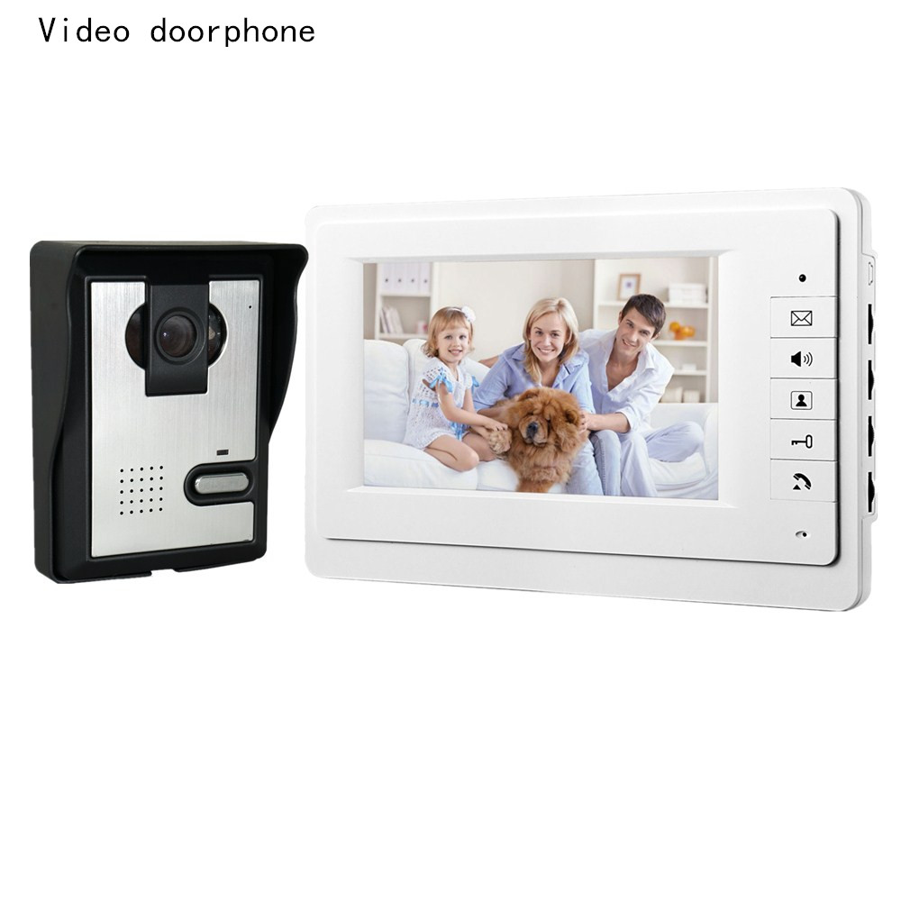 Freeshipping 7 Inch Video Doorbell Best CMOS TFT-LCD Hd Screen Wired Video Doorphone For Villa With Night Vision 1V1 Panel