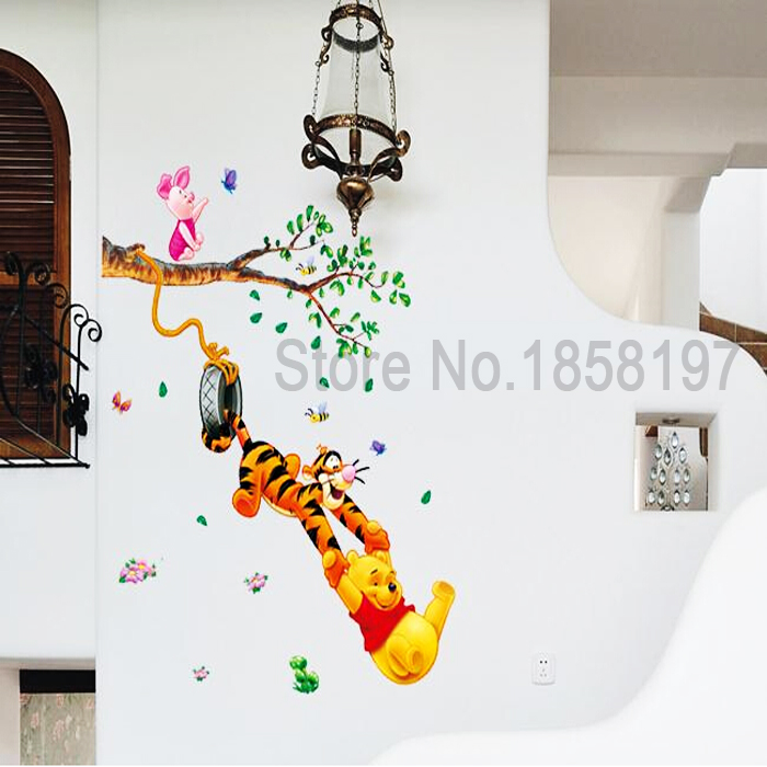 Winnie The Pooh Cartoon Sticker Creative Partner Portfolio Removable Wall  Stickers Parlor Kids Bedroom Home Decor