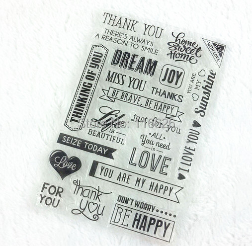 4sheets/lot diy scrapbooking clear silicone stamps decoration papercrafts seal w/laciness and words pattern