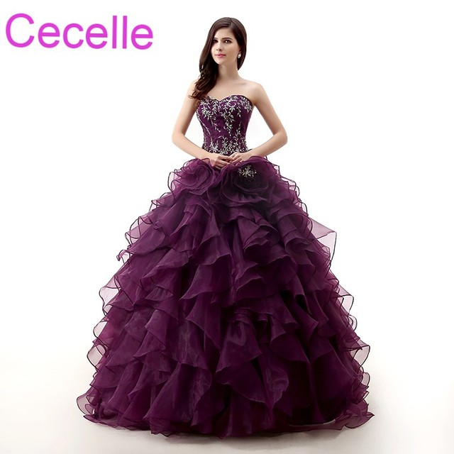 cdb13635e0d73 Purple Grape Ball Gown Prom Dresses 2019 Sweetheart Ruffles Skirt Vintage  Embroidery Corset Back Girls Formal Sweet 16 Dresses