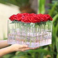 יום ולנטיין עלה תיבת אחסון פרח פרח BoxTransparent תווית אריזת קרטון בתוספת קצף נייר אקריליק תיבת מתנה עבור בנות