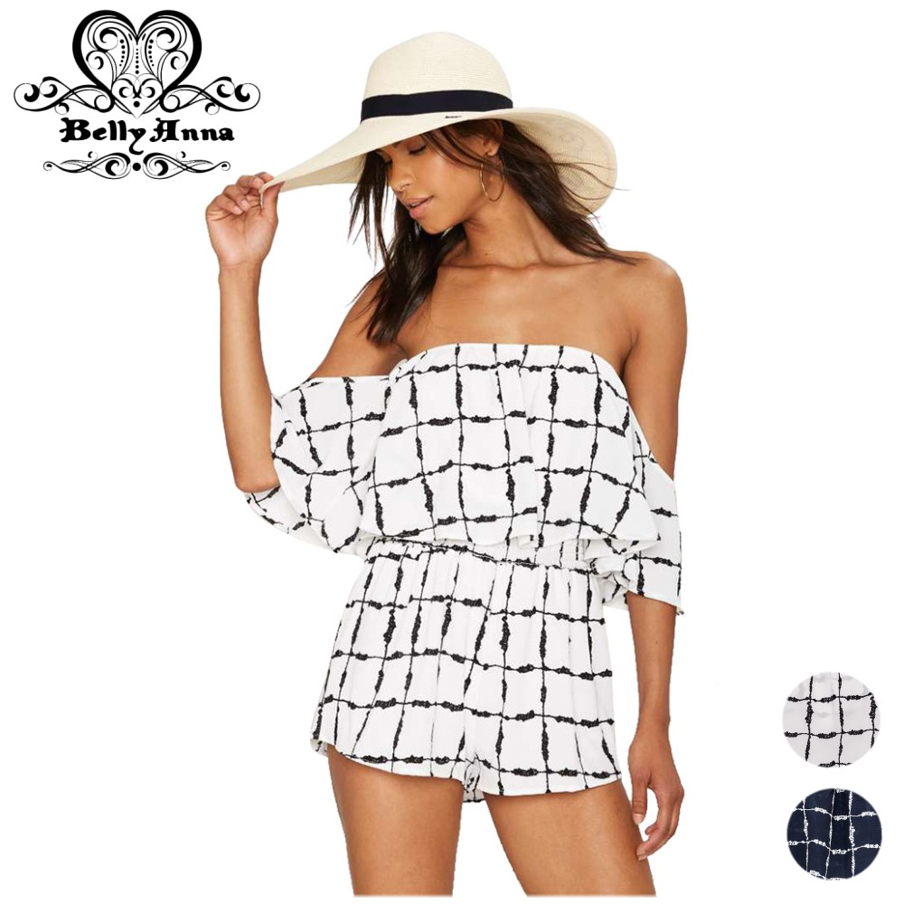 BellyAnna 2016 Summer Women Sexy <font><b>Off</b></font> <font><b>Shoulder</b></font> <font><b>Plaid</b></font> Casual Tunic Beach Jumpsuit <font><b>Romper</b></font> Overalls Female Short Playsuit Party Wear