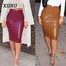цены на XURU 2019 spring sexy PU bag hip skirt skirt high-end slim fashion black plus velvet comfortable skirt leather skirt в интернет-магазинах
