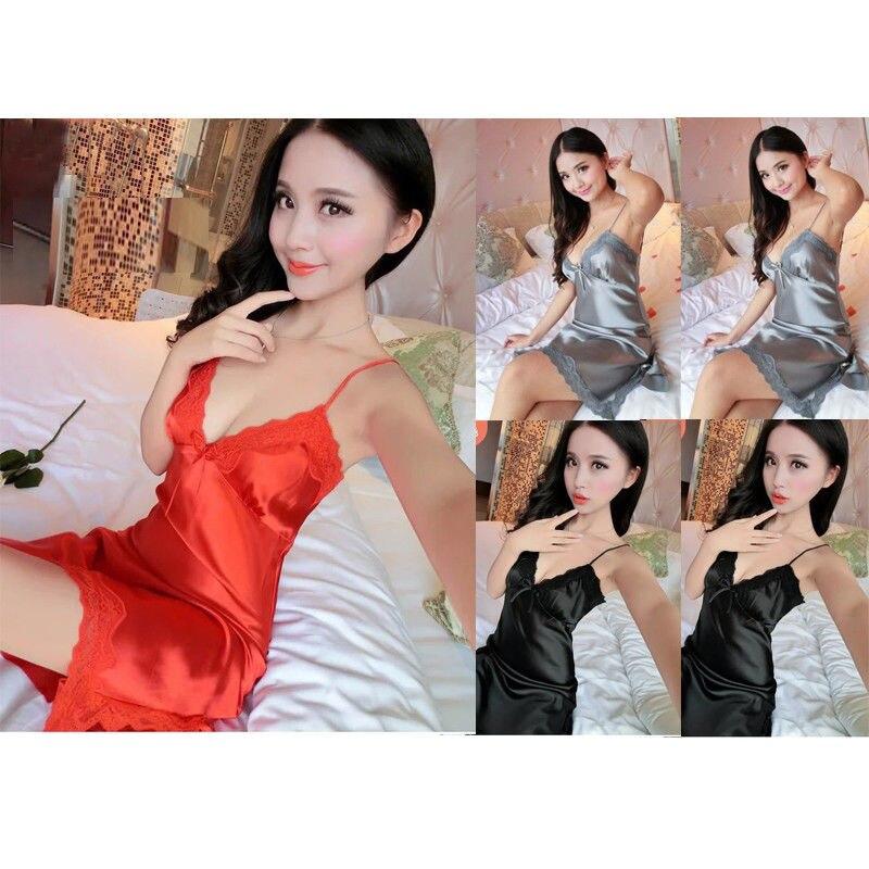 2018 New Brand Women Sexy-Lingerie Sleepwear Satin Silk Babydoll Lace Robes Sleep Dress