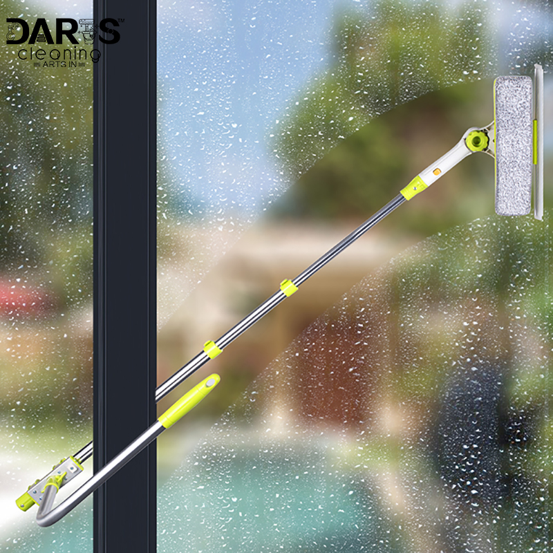 Window <font><b>Cleaning</b></font> brush Squeegee Cleaner, Detachable Microfiber Brush and Squeegee Scrubber with Aluminum Alloy Extension Pole