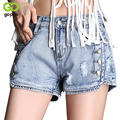 GOPLUS Women Sexy Ripped Denim Shorts Ladies' Casual Mid Waist Cuff Holes Jeans Shorts Summer Buttons Plus Size Shorts C3710