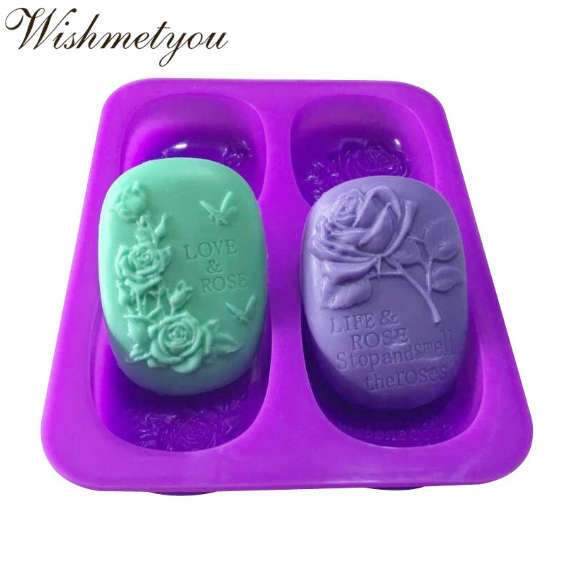 WISHMETYOU 4 Holes Rose Silicone Soap Mold Butterfly Shaped Cake Chocolate DIY Decorating Tools 3D Flower Handmade New