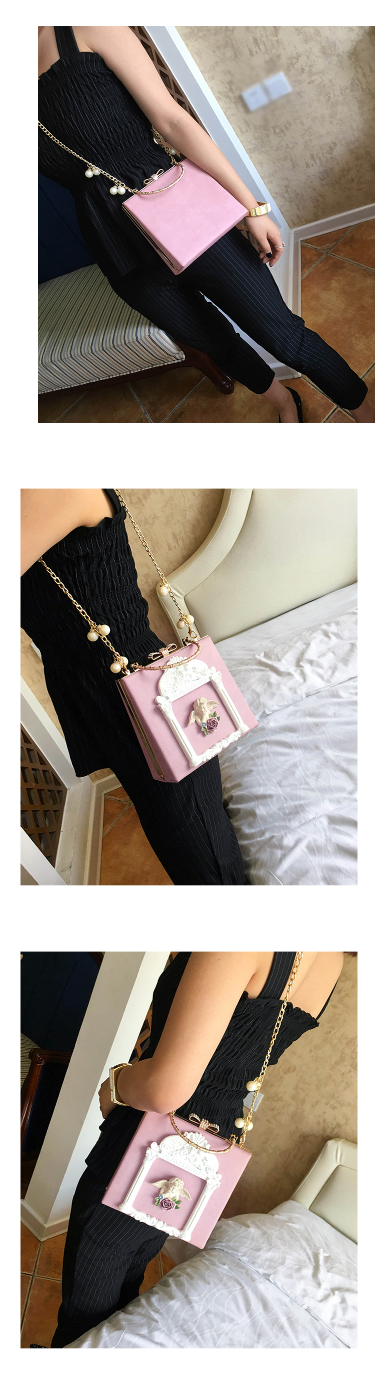 2018 NEW Rose 3D Palace Sculpture Frame Bag Luxury Handbags Women Party Bags Designer Lady Cute Shoulder Messenger Bag Sac Tote 25