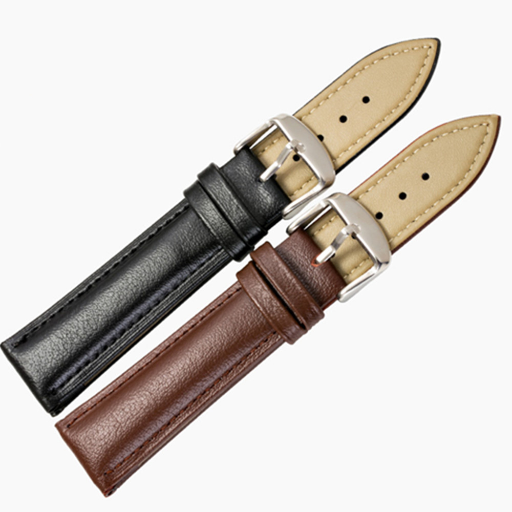 Genuine Leather Watchband 14mm 16mm 18mm 20mm Universal Watch Band Steel Buckle Clasp Strap Wrist Belt Bracelet Tool in Watchbands from Watches