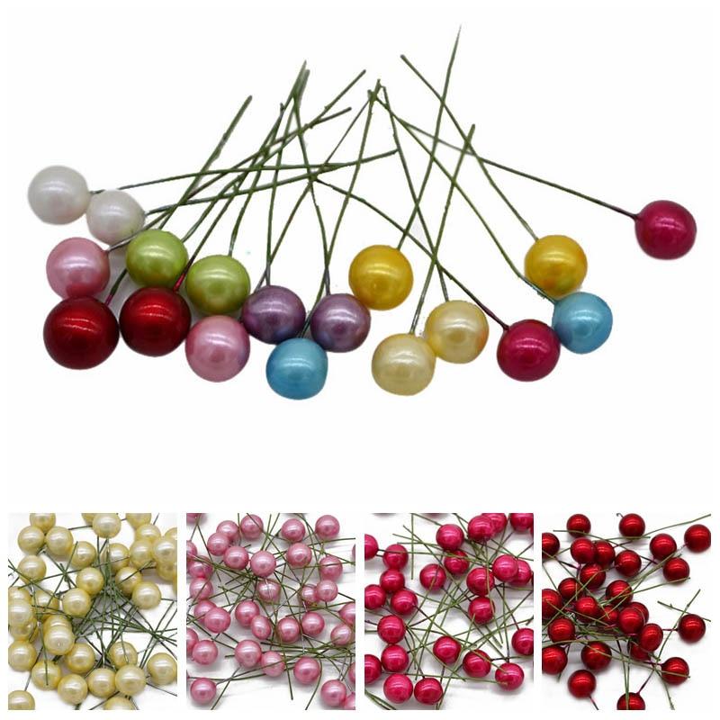 50 шт. см 1 см жемчуг пластик тычинки маленькие ягоды Cherry Искусственные цветы поддельные фрукты DIY коробка венок Рождество Свадебные украшения
