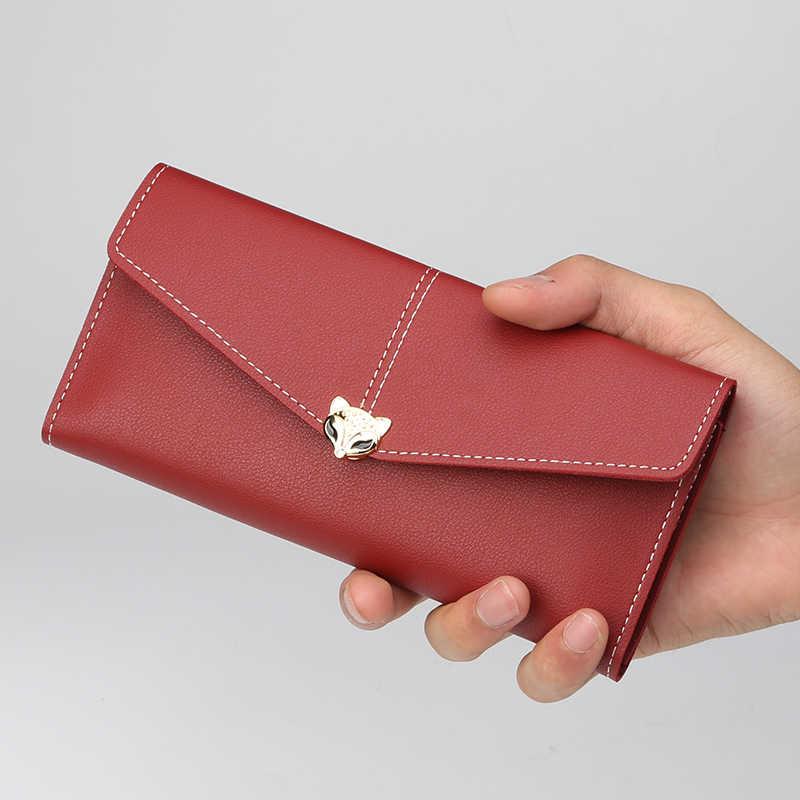 חמוד Cartoon שועל דפוס גבירותיי ארנק גדול קיבולת נשי טלפון סלולרי כיס אופנה נשים ארוך כרטיס מחזיק כסף תיק ארנק