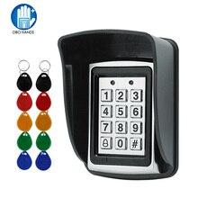 تتفاعل المعادن التحكم في الوصول EM قارئ بطاقات لوحة المفاتيح مع 10 EM4100 keyfobs غطاء حامي مقاوم للماء لنظام التحكم في الوصول الباب
