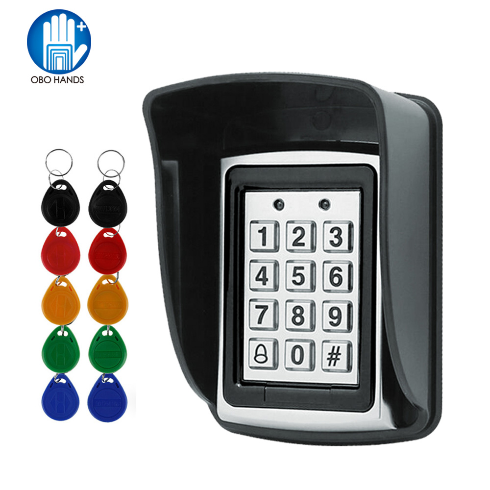 RFID Metal Access Control EM Card Reader Keypad with 10 EM4100 keyfobs waterproof protecter cover For Innrech Market.com