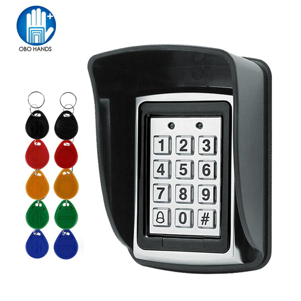 RFID Metal Control de acceso EM lector de tarjetas teclado con 10 EM4100 keyfobs cubierta protectora impermeable para sistema de Control de acceso de puerta