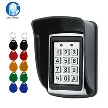RFID Metall Access Control EM Kartenleser Tastatur mit 10 EM4100 keyfobs wasserdichte protecter abdeckung Für Tür Access Control System