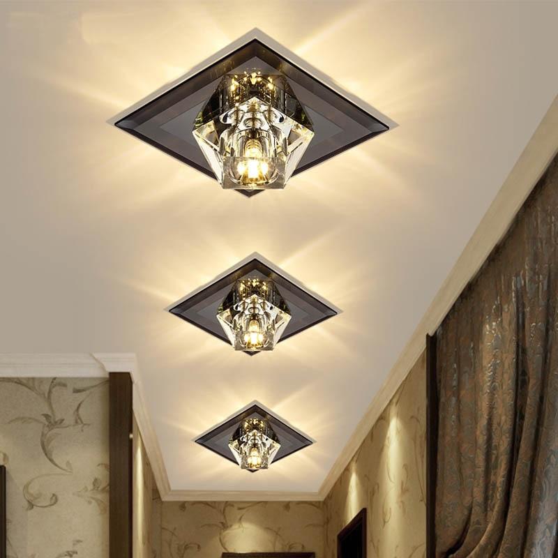 criativo lampada de cristal quadrado conduziu a luz teto corredor foyer recessed teto montado espelho lampada