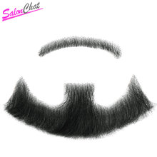 Nep Lace Beard Fake Beard For Men Mustache Hand Made Remy Human Hair Barba Falsa Cosplay Swiss Lace Invisible Beards SalonChat hand made human hair man handtied eyebrow 018 black color hand knot fake eyebrow for men