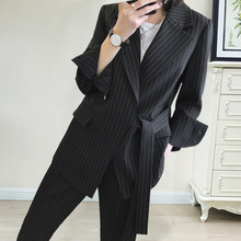 In The Fall of 2019 New Large-size Women Striped Suit Set Fashion Belt with Elastic Waist Sashes Black Jackets