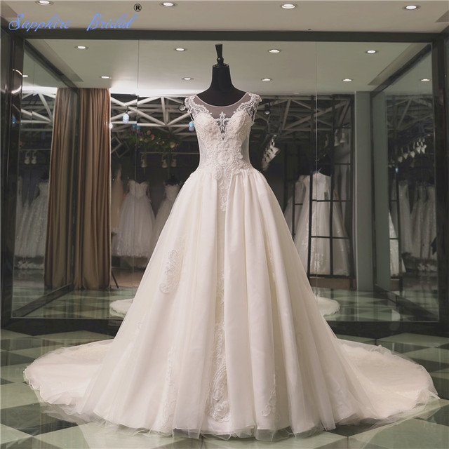 2018 Spring Top End Wedding Dress Vestido De Noiva Luxury Lace Beaded Bridal  gowns With Cathedral Train 5da51338fb94
