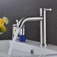 Yüksek kaliteli paslanmaz çelik banyo musluk tek kolu batarya dokunun havzası lavabo musluğu banyo aksesuarları