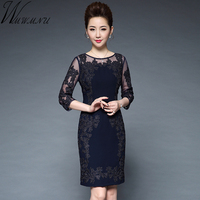 Women 2017 Autumn Winter Elegant Embroidery Lace Patchwork Dress Long Sleeve Casual Vintage Party Dress Bodycon